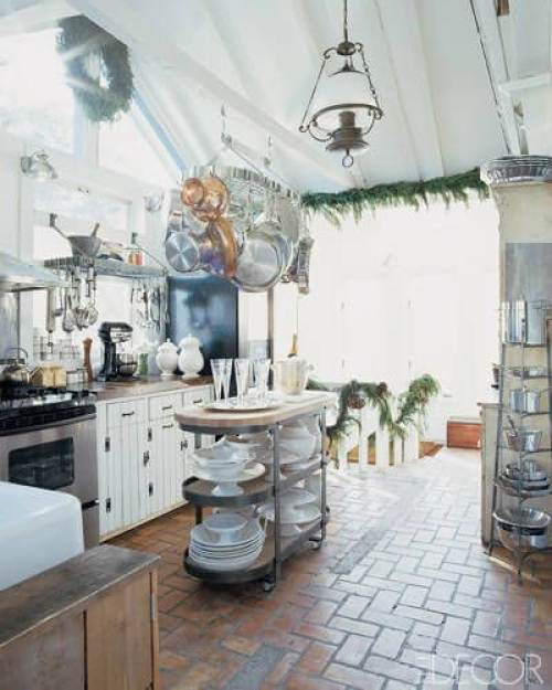 Farmhouse Kitchen A hammered-steel island