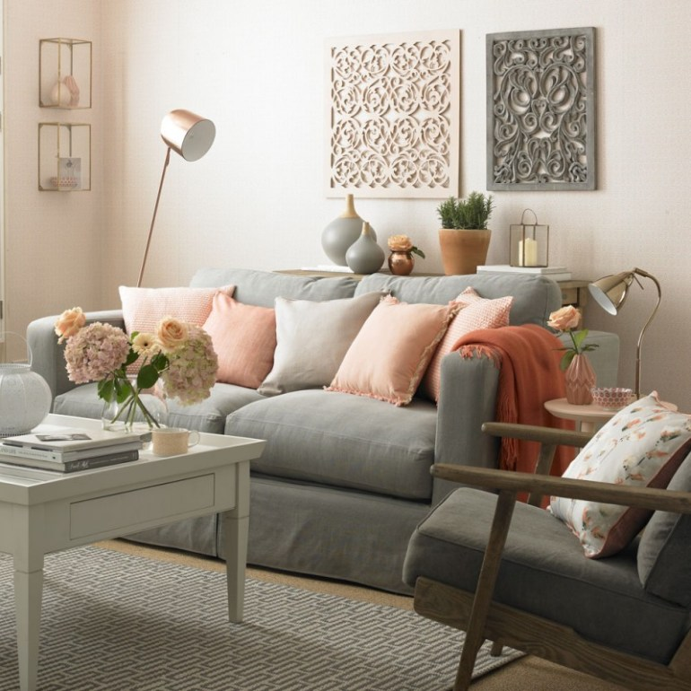 Feminine Pink and Gray Living Room Color