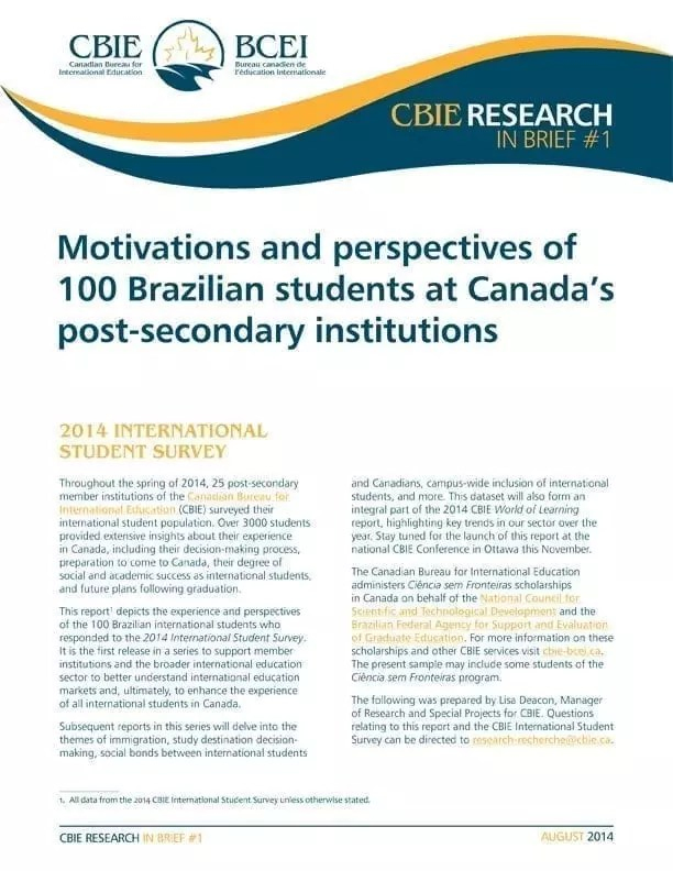 Motivations and perspectives of 100 Brazilian students at Canada's post-secondary institutions