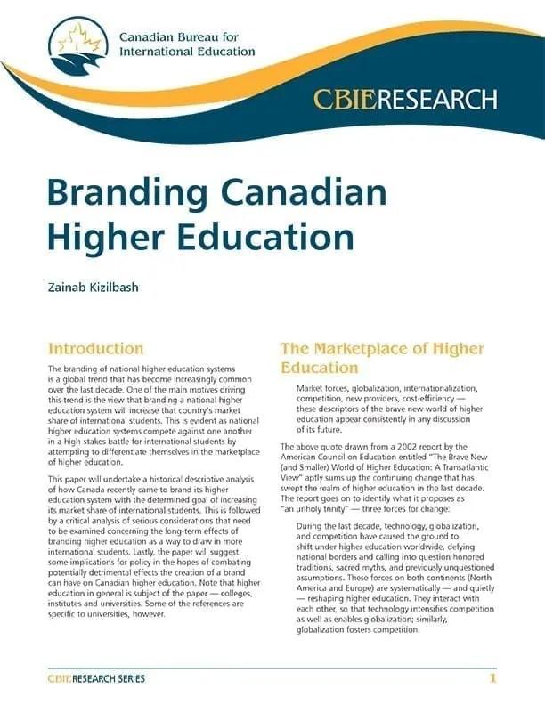 Branding Canadian Higher Education