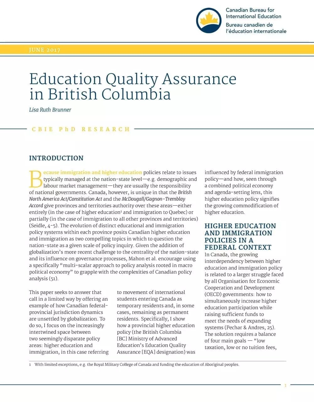 Education Quality Assurance in British Columbia