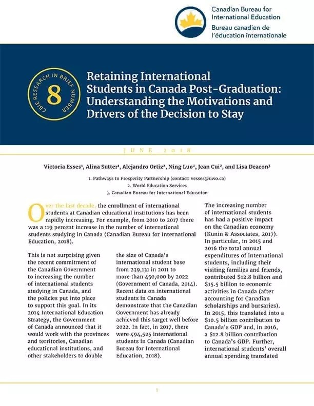 Retaining International Students in Canada Post-Graduation: Understanding the Motivations and Drivers of the Decision to Stay