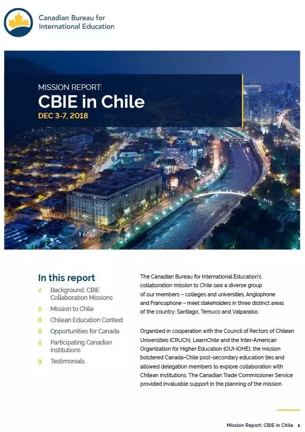 MISSION REPORT: CBIE in Chile
