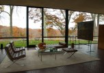 Inside the minimal Glass House, built in 1949