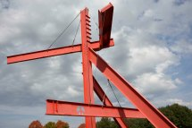 "Mark di Suvero's ""Mother Peace"" (painted steel, 1969 - 1970), measures 41' 8"" h x 49' 5"" l x 44' 3"" w"