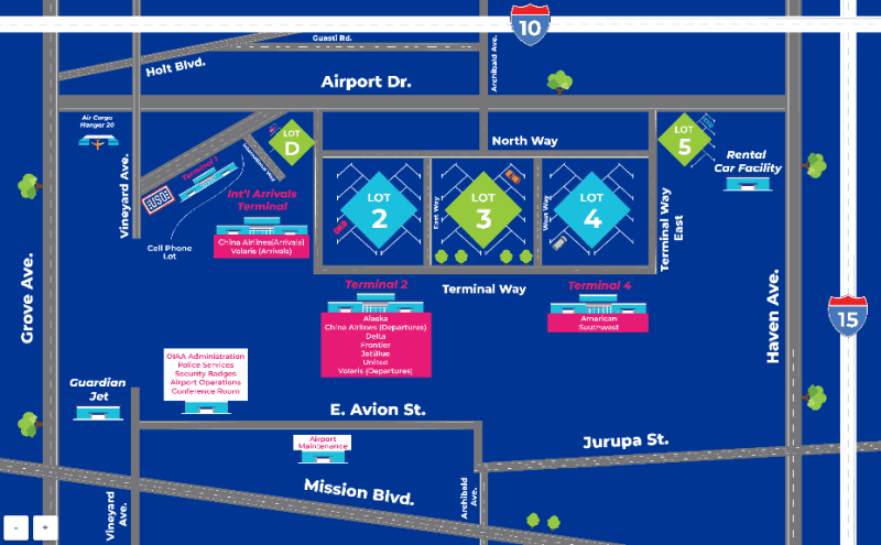 Ontario Airport Parking Map - Overview