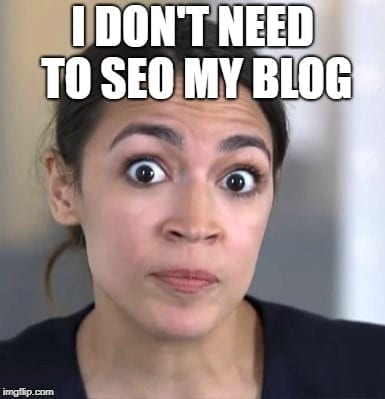 Blogging Memes - I don't need to SEO my blog - AOC MEMES