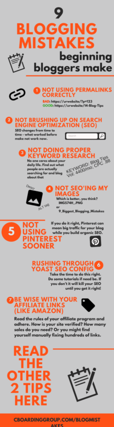 Blogging for Beginners Infographic – The 9 Biggest Blogging Mistakes I Made When Starting a Blog