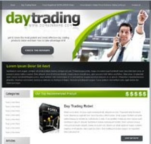 Image of CBProAds' day trading niche storefront showing a man with a phone and raised hand stressing a point