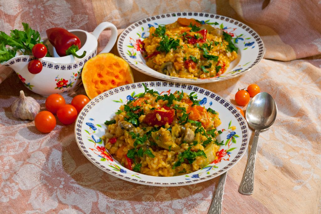 Pumpkin and Chicken Risotto