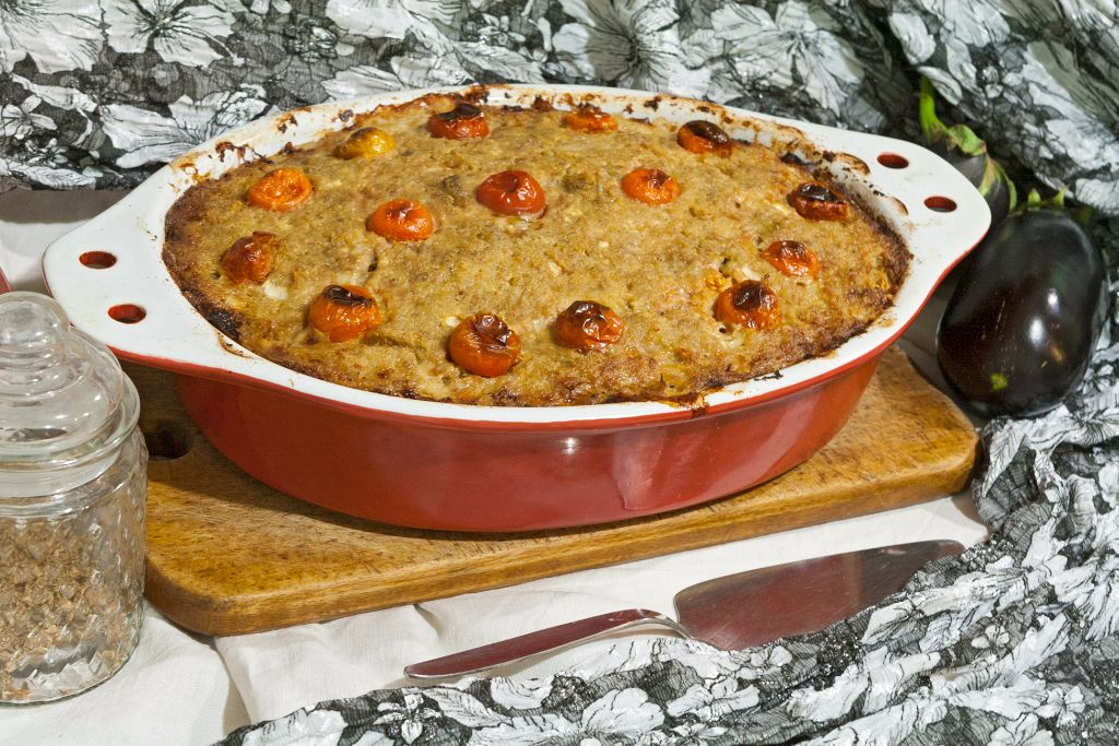 Eggplant Lamb Meatloaf with Cottage Cheese