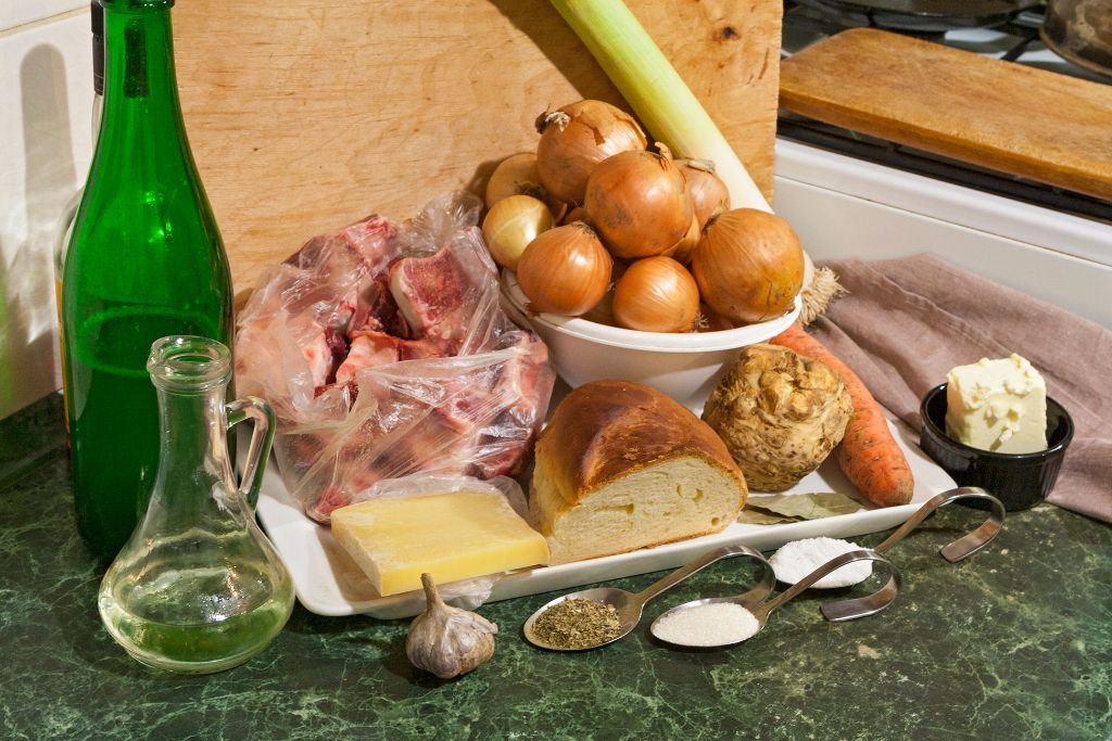 Preparing the ingredients for traditional French onion soup