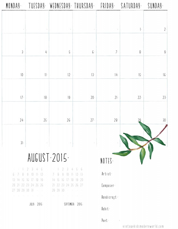 Printable Homeschool Calendar