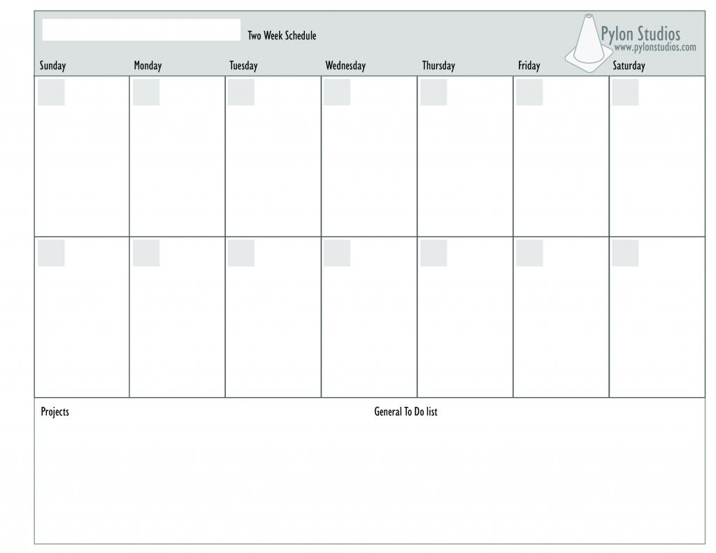 Printable 2 Week Schedule Calendar Template