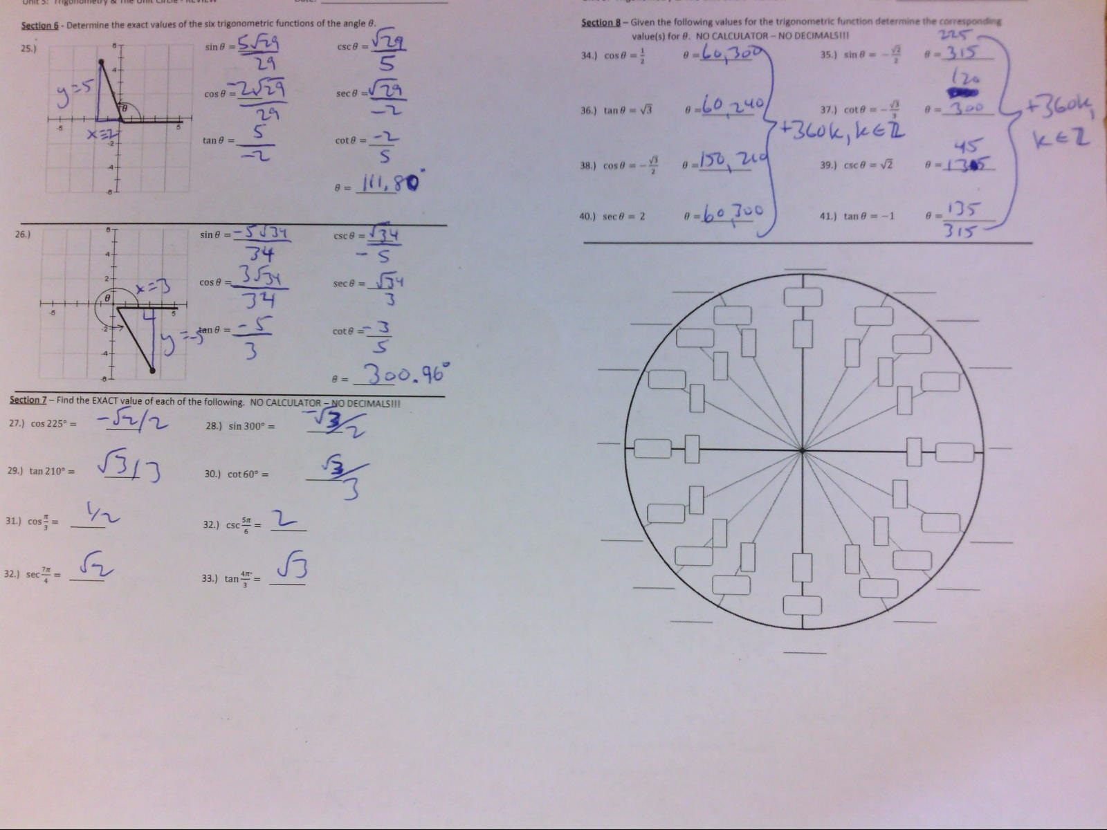 Wetzel Gregory Unit 5 Unit Circle Exact Values