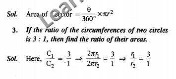 Areas Related to Circles NCERT Solutions Class 10 Maths VSAQ