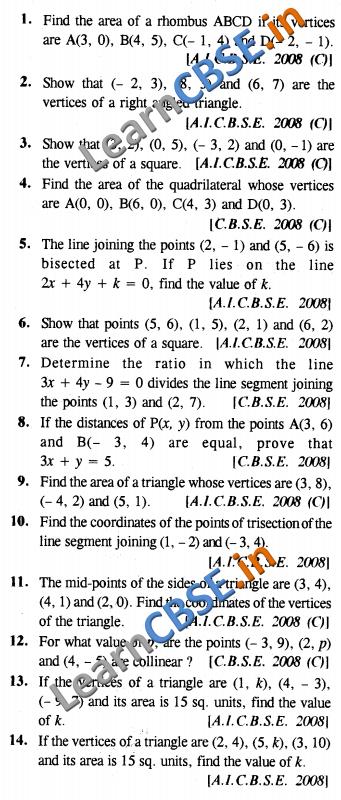 CBSE Board Papers Class 10 Maths Coordinate Geometry