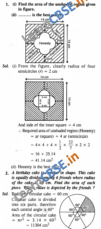 CBSE Class 10 Maths Areas Related to Circles Value Based