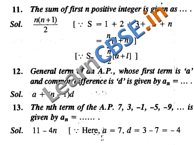 CBSE Class 10 Maths Arithmetic Progressions Objective Type