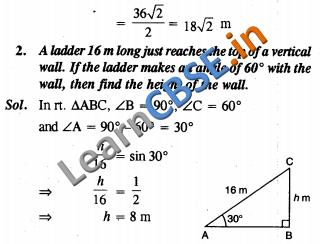 CBSE Class 10 Maths Some Applications Of Trigonometry