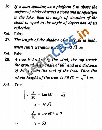 CBSE Class 10 Maths Some Applications Of Trigonometry