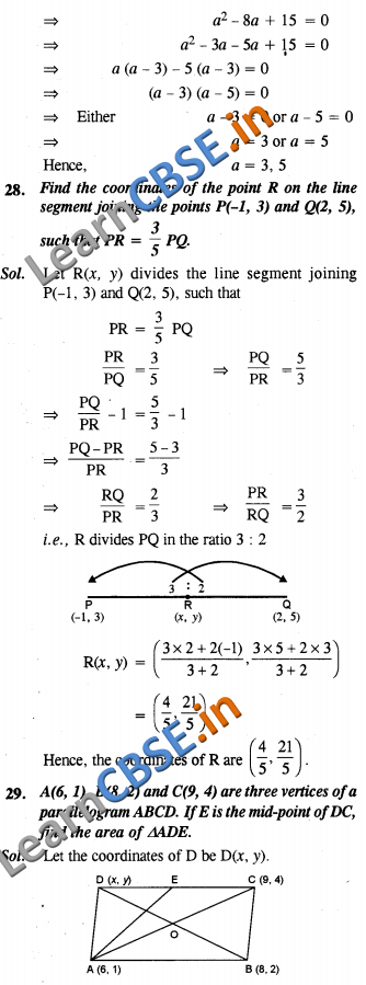 NCERT Exemplar Solutions Class 10 Maths Coordinate