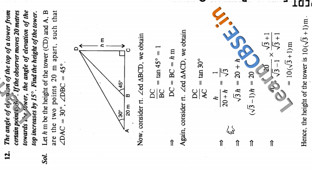 NCERT Exemplar Solutions Class 10 Maths Some Applications