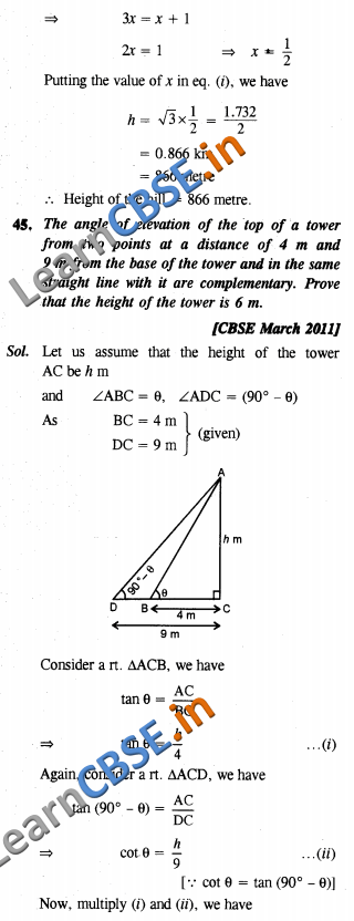 Some Applications Of Trigonometry NCERT Solutions For