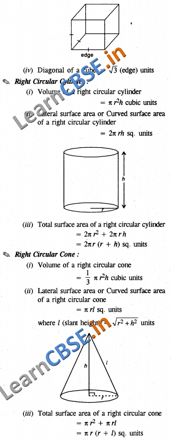 Surface Areas and Volumes Notes CBSE Class 10 Maths