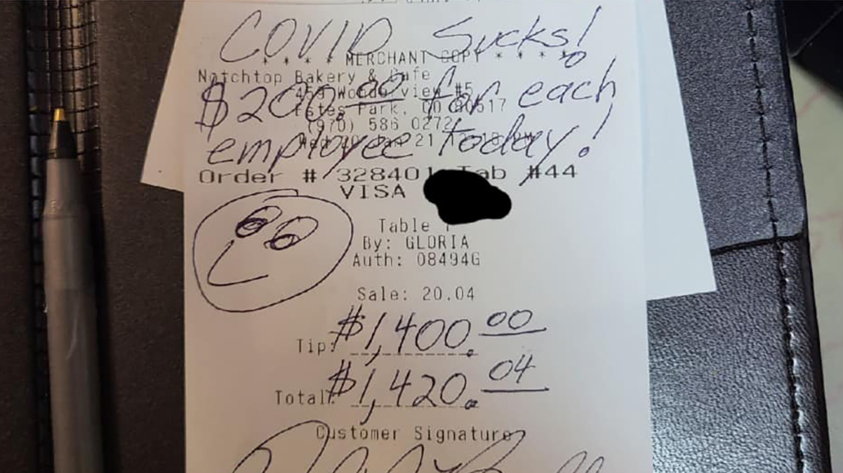 Customer Leaves $1,400 Tip At Estes Park Bakery With Message 'COVID Sucks!'