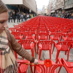 Red Chairs Sarajevo High Chair Space Saver Marks 20th Anniversary Of Bosnian War 39s Start
