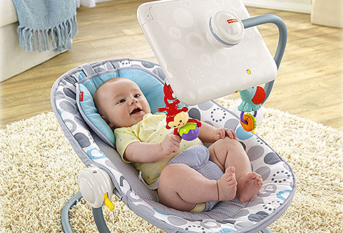 Fisher Price baby bouncy seat with iPad attachment subject