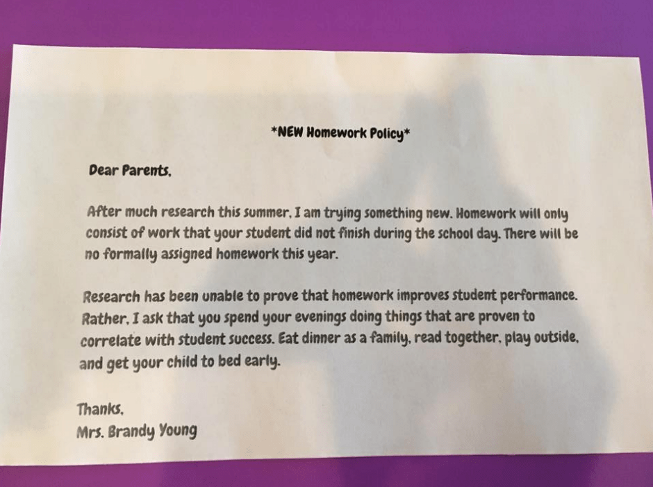 letter from parents to teacher