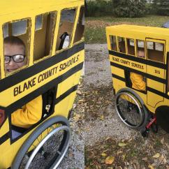 Yellow Wheelchair Childs Desk Chair 2 5 Year Old With Spina Bifida Gets Custom Halloween Costume That S Functional His