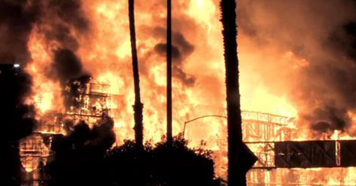 Crews battle 2 massive fires in Los Angeles  CBS News