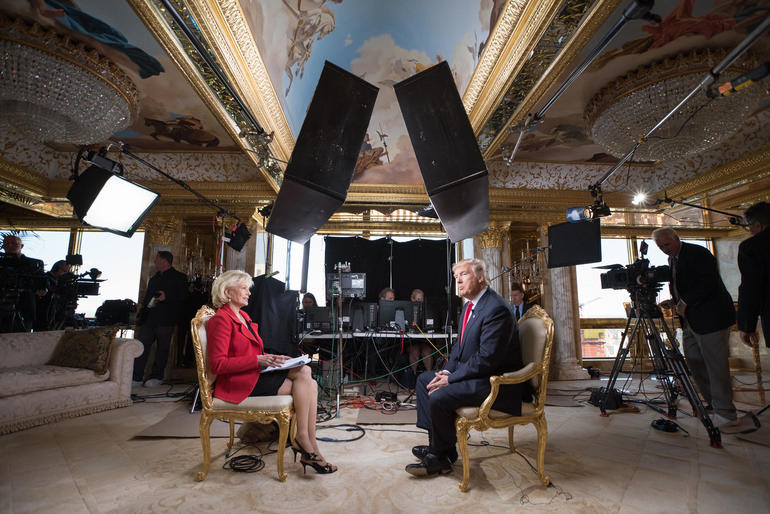 Image result for Trump and Lesley Stahl