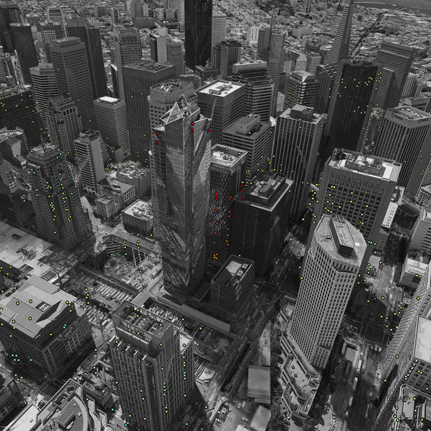 he image provided by the European Space Agency ESA on Thursday, Nov. 24, 2016, shows the Millennium Tower in San Francisco on the base of modified Copernicus Sentinel satellite data. ESA SEOM INSARAP STUDY/ESA VIA AP