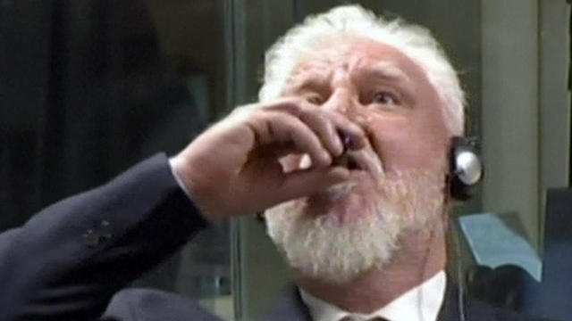 War criminal Slobodan Praljak drank from container holding deadly chemical - CBS News