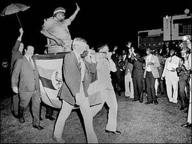 Image result for White officials kneeling before Idi amin