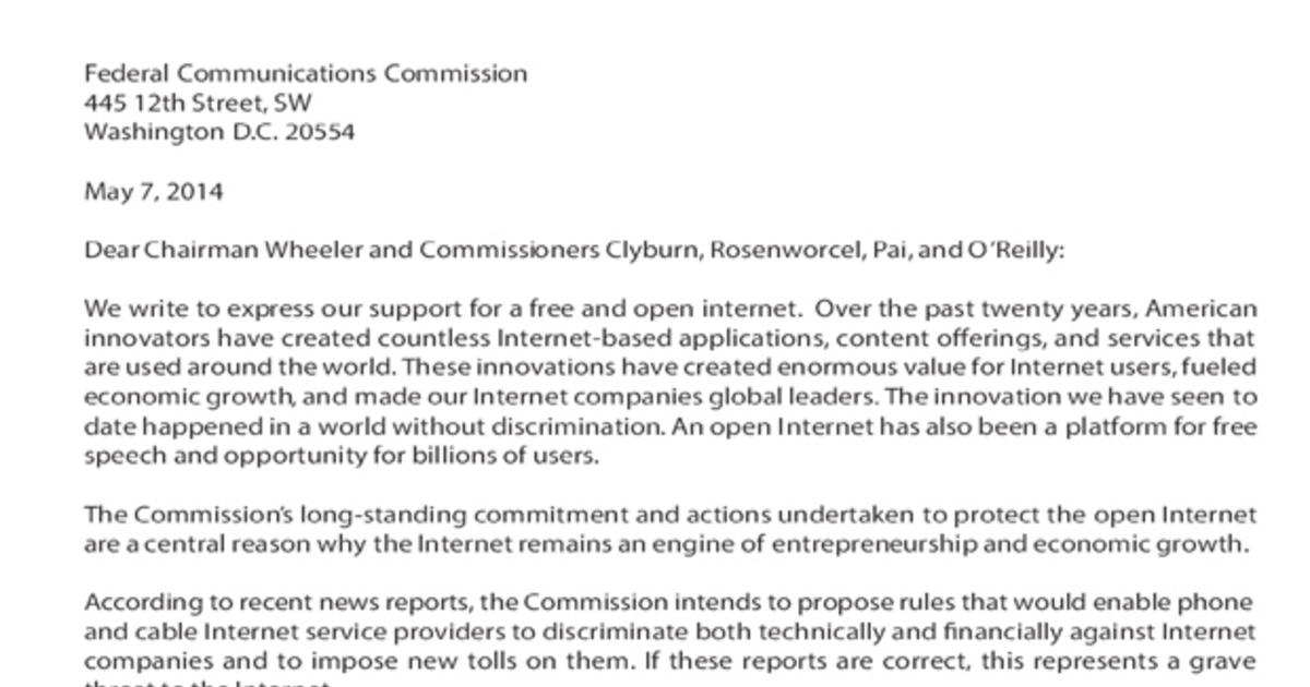 100 Tech Companies Send Letter To FCC Say Innovation