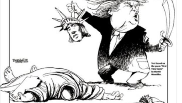 Daily News cover cartoon shows Trump beheading Statue of