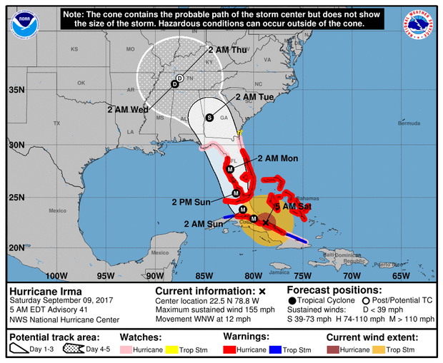 095407-5day-cone-no-line-and-wind Hurricane Irma pummels Cuba before expected turn to Florida