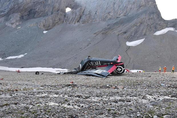 vintage plane crash swiss alps