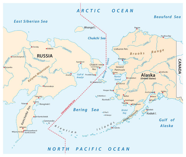 Map of the Bering Strait between Russia and Alaska