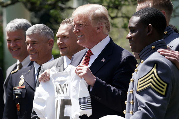 President Trump Presents The Commander In Chief's Trophy To The U.S. Military Academy Football Team