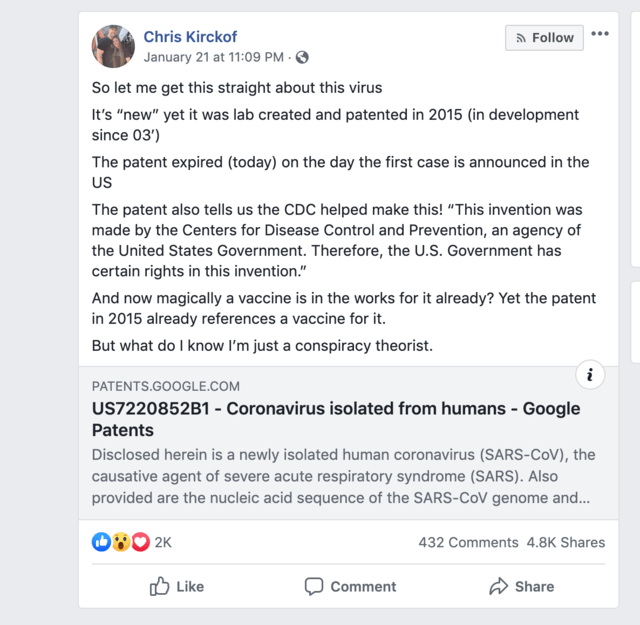 Facebook coronavirus posts spread misinformation on deadly ...