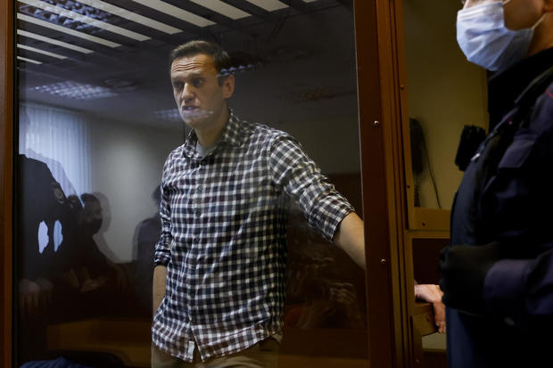 The Russian opposition Alexei Navalny appears in court in Moscow