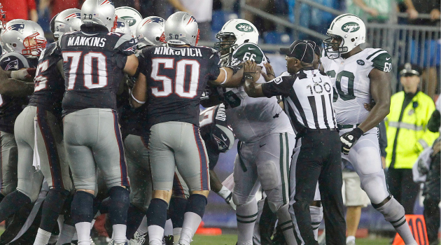 The Patriots and Jets rumbled late on Thursday.