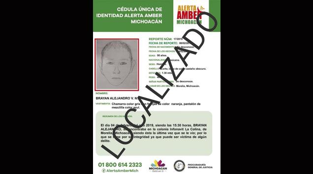 Localiza PGJE a menor de edad reportado desaparecido en Morelia y desactiva Alerta Amber