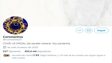 Photo of ¡El coronavirus ya tiene cuenta de Twitter! Rebasa los 450 mil seguidores